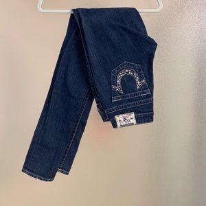 True Religion Dark Wash Rhinestone Skinny Jean